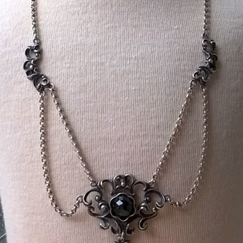 .835 Silver Art Nouveau Swag Necklace Thrift Shop Find $1.25