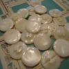 "Vintage mother of pearl buttons 1"" milky white new old stock"