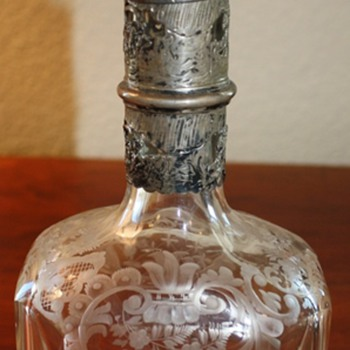 Fine European Engraved Decanter From Germany   - Glassware