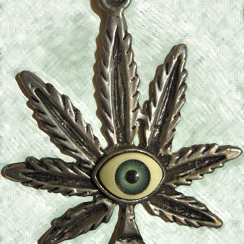 Vietnam Vet's 1960's Psychedelic Hippie Pendant with Glass Eyeball - Costume Jewelry