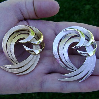 Trifari Swirl Brooch x 2 - Costume Jewelry
