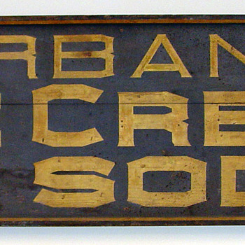 1880's - 1890's Burbanks Ice Cream and Soda Sign