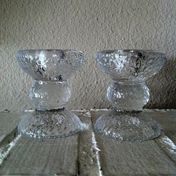 Scandinavian Icy Glass Taper Candle Holders