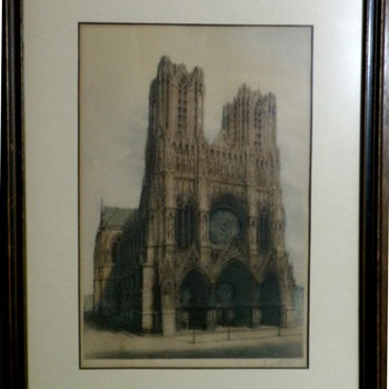 "Antique ""Original"" Etching of Notre Dame by Loiuteau (Not a Print) - Posters and Prints"