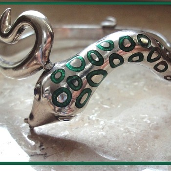 Art Deco Enameled Sterling Silver Snake Bracelet Bangle