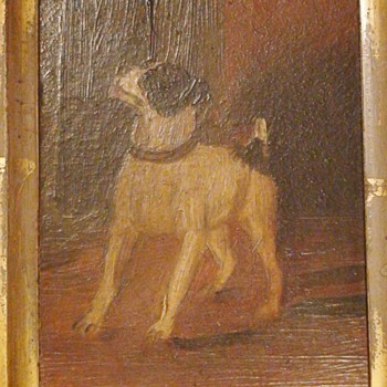 Antique Miniature Dog Painting France