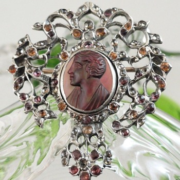 Antique Georgian Sterling Silver Intaglio Brooch with Tiny Paste - Rhinestones - Fine Jewelry