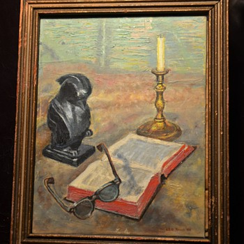 Find of the Day: a nice little still-life painting by a famous philanthropist Leo Roon [1893-1983]
