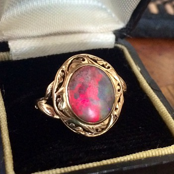 "Antique Australian Black Fire Opal Custom Pierced Mounting 18k Ring ""500th CW Post!""  - Fine Jewelry"