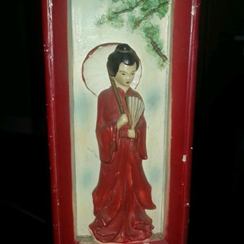 Vintage MARKED Florence Art Oriental Geisha 3D Effect Lamp