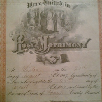 Great Grandma's and Grandpa's wedding certificate - Paper