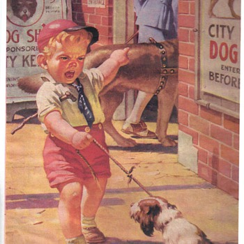 picture of Boy and dog going to a dog show - Posters and Prints