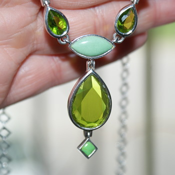 Barse Sterling Festoon Necklace with Green Stone/Glass