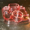 Depression Glass Desk Set in Pink
