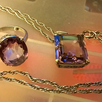 Silver & Amethyst Pendant/Ring Set, Unmarked - Fine Jewelry