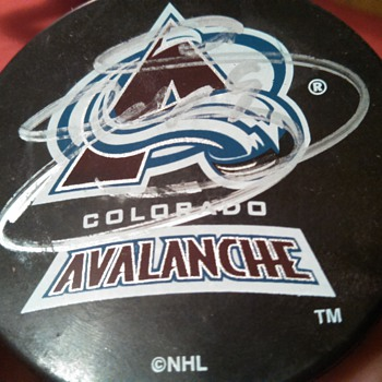 Signed Joe Sakic Puck! - Hockey