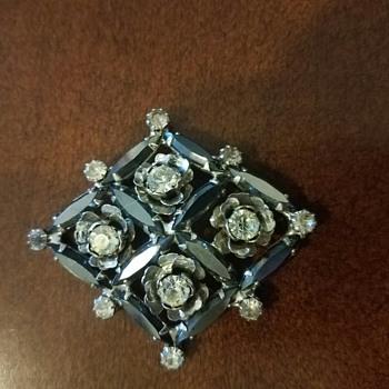 Dark/Rhodium plated Brooch with Rhinestones - Costume Jewelry