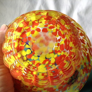 "Bohemian Glass - ""weaved""basket - Art Glass"