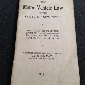 1913 NY State Motor Vehicle Laws Pamplhlet - Paper