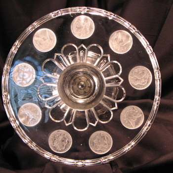 "United States Glass #15005 ""Silver Age"" (U.S. Coin) Cake Stand c1892"