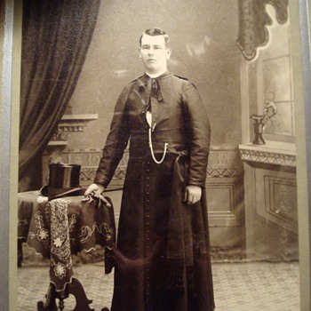 A Priest and a Tophat on a Cabinet Card
