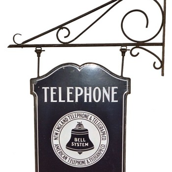 New England Telephone &amp; Telegraph Co. Rectangle Business Office Bracket Sign