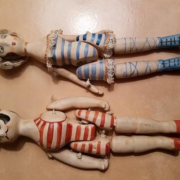 Antique bisque string dolls