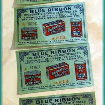 Paper Coupons - BLUE RIBBON ( Coffee // Tea // Baking Powder, etc )