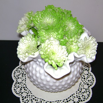 Hobnail and Starburst Milk Glass Vases - Glassware