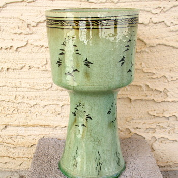 Celadon Pottery Vase with Stamp Mark on base - Asian
