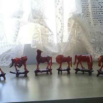 My Collection of 1940s Horse Figurines with Individual Stands  - Animals
