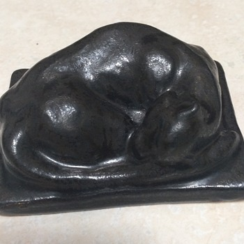 Pewabic Pottery Sleeping Cat Paperweight - Animals