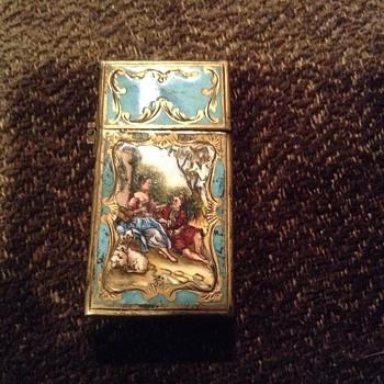 VINTAGE ZIPPO ENAMEL LIGHTER 800 silver. 2517191