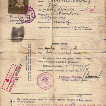 1940 occupied Lithuania travel document for refugee