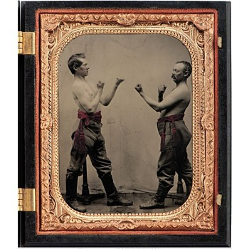 Cased Tintype of Fighting Pugilists. c.1860s - Photographs
