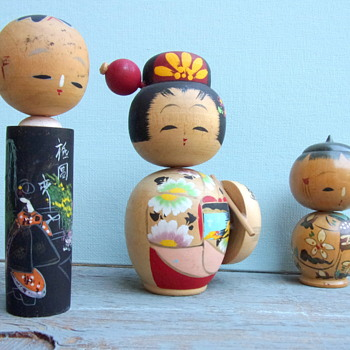 Set of three Kokeshi Bobble-heads from the 60's - Dolls