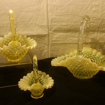 COLLECTION OF FENTON TOPAZ [VASELINE] OPALESCENT HOBNAIL BASKETS