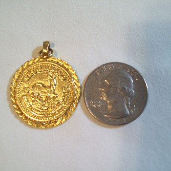 14K GOLD 1980 KRUGERRAND NECKLACE PENDANT 7.8 GRAMS / WITH STAMP - Gold