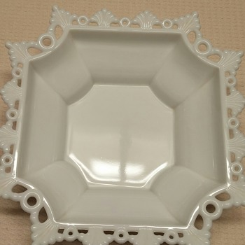 Westmoreland's Square Milk Glass Dish - Glassware