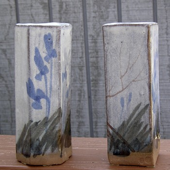Hand painted stoneware bud vases- Need help identifying potter