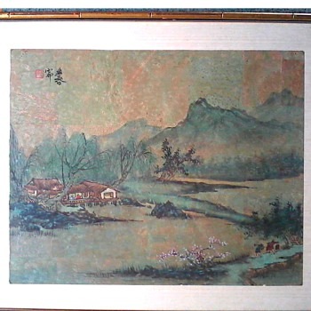 "AsianWatercolor and Ink Landscape on Paper /25"" x 20"" Framed and Matted on Raw Silk Backgound/Circa 20th Century"