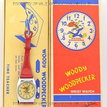 "c.1950's Woody Woodpecker Time Teacher ""Deluxe"" watch by Ingraham in Box - Wristwatches"