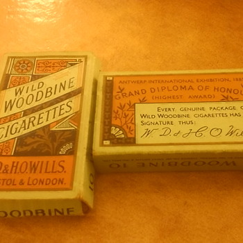 ANTEQUE English wild woodbine cigarette packet  - Tobacciana