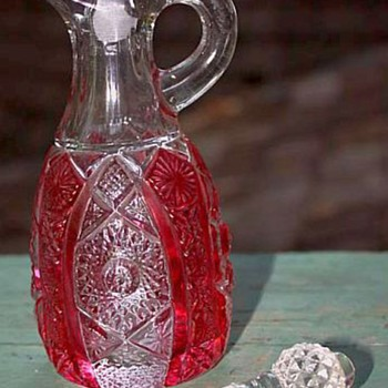 Imperial Glass Ruby Stained Octagon Cruet & Shakers - Glassware