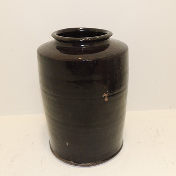 Hand Thrown Redware Jug - Dark Brown Glaze - Date? Origin? - Art Pottery