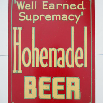 Hohenadel Beer Metal Sign Philadelphia PA  - Breweriana