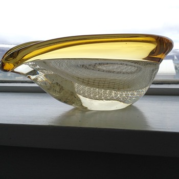 Glass bowl, clear, white and yellow