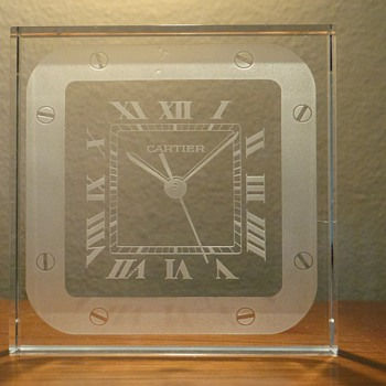 CARTIER CRYSTAL SANTOS PAPER WEIGHT CLOCK