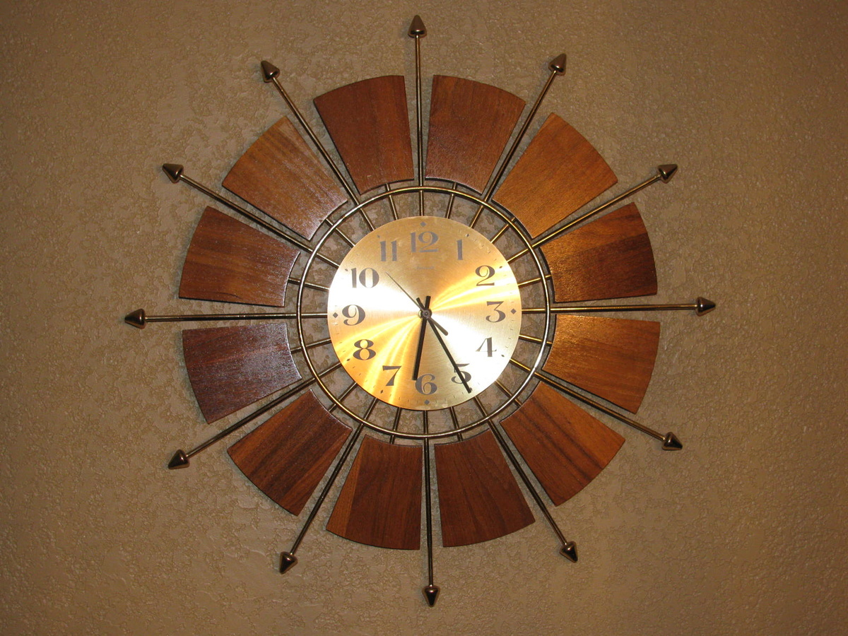 mid century modern teak forestville sunburst wall clock collectors