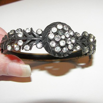 Japanned and Paste Rhinestone bracelet - Costume Jewelry